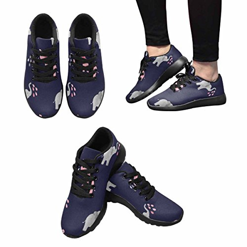 Interestprint Cute Elephants Pattern Mujeres Correr Correr Sneaker Ligero Ir Fácil Zapatos Para Caminar Multi 1