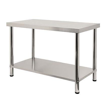 lars360 ® Acero inoxidable mesa de trabajo con/sin aufkantung Acero ...