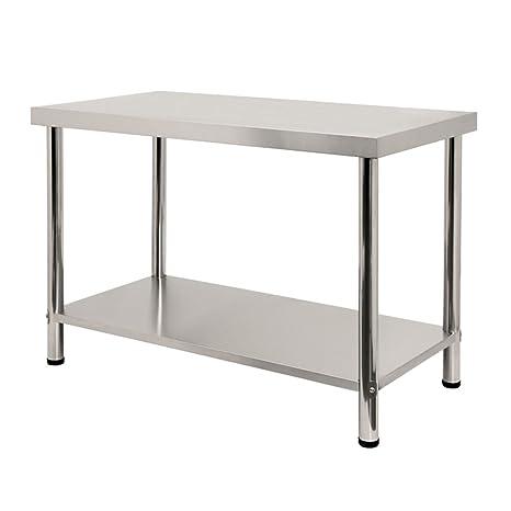 LARS360® Mesa de trabajo de acero inoxidable con/sin remates, para ...