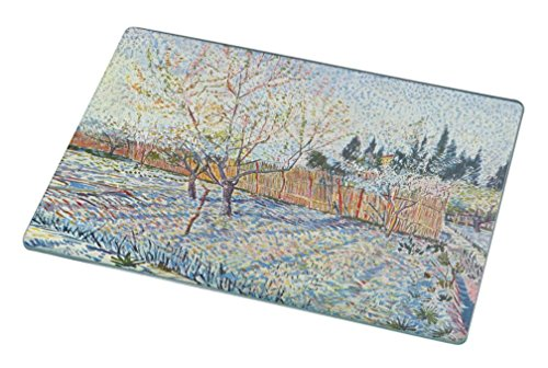 Rikki Knight RK-LGCB-1416 Van Gogh Art Orchard with Cypress Glass Cutting Board, Large, White - Orchard Glass Cutting Board