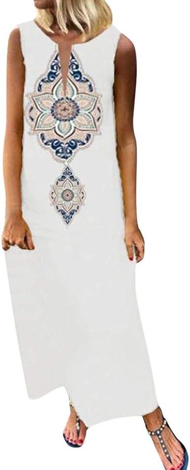 Overdose Soldes Robe Longue En Lin Femme Boheme Ete Fendue Habillee Sans Manches Casual Imprimee Maxi Robes Grande Taille 36 46 Amazon Fr Vetements Et Accessoires