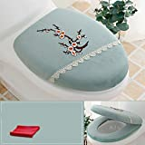 Wayer Toilet cushion,Luxury toilet seat cover 2 Pack set (Lid cover & Tank cover) Bathroom zipper super warm soft comfy-E
