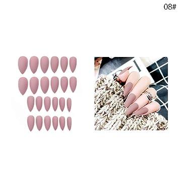 Set de 24 piezas de uñas postizas con punta, mate, largas secciones, puntas falsas para uñas