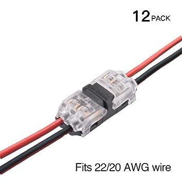 Conectores de cable: paquete de 12 conectores de 2 vías de baja tensión H sin
