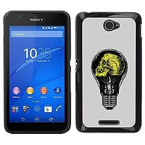 Planetar® ( Grey Yellow Light Bulb Yellow Idea ) Sony Xperia E4 Fundas Cover Cubre Hard Case Cover