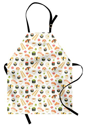 Ambesonne Japan Apron, Doodle Icons of Asian Food Pattern Illustration for Japanese Sushi Bars Restaurants, Unisex Kitchen Bib Apron with Adjustable Neck for Cooking Baking Gardening, Salmon -