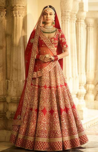 Red Bridal Designer Royal Wedding Festive Lehenga Choli Ghagra Dupatta Indian Muslim Zari Custom to Measure