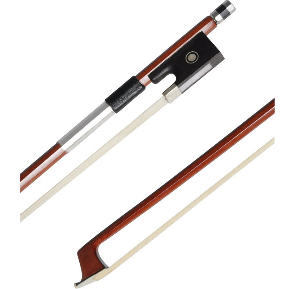 ADM 1/2 Half Size Well Balanced Brazilwood Violin Bow with Wood Stick, Horsehair, Ebony Frog with Pearl Eye and Pearl Slide, Nickel Silver Mounted