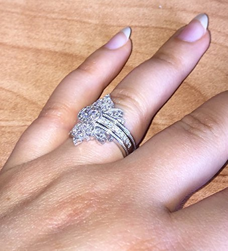 Diamond Engagement And Wedding Set, Set Of 3 Wedding Rings, 14k White Solid  Gold, Edwardian Style Inspired Engagement Ring With 2 Matching Bands, ...