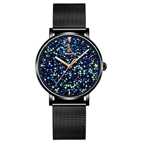 (IK Colouring Women Quartz Watch, Rhinestone Starry Sky Dial Ladies Wrist Watches Mesh Band Watch - Black )
