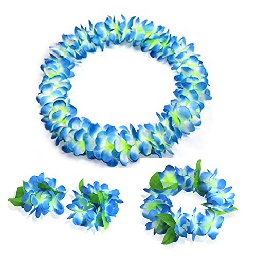 JSSHI Lush Hawaiian Headpiece,Hawaiian Flower Leis Jumbo Necklace Bracelets Headband Set with Leaf for Hawaiian Luau Party Decoration Supplies (with Green Leaves,Blue) -