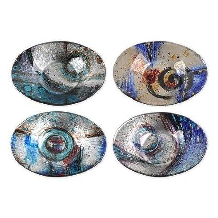 """Set de 4 Platos Decorativos Ovalados """"Abstractos"""". Vajillas y Cuberterías. 3"""