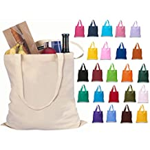 Set of 24 Blank Cotton Tote Bags Reusable 100% Cotton Reusable Tote Bags (2 dozen) (AAssorted Mix) by ToteBagFactory