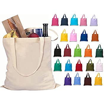 Amazon.com: Set of 12 Wholesale Cotton Tote Bags 100% Cotton ...