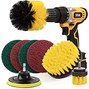 Best Epic Trends 51PD62KITRL._SS300_ Holikme 8 Piece Drill Brush Attachment Set Scouring Pads Power Scrubber Brush Scrub Pads for Bathroom Surfaces, Floor…