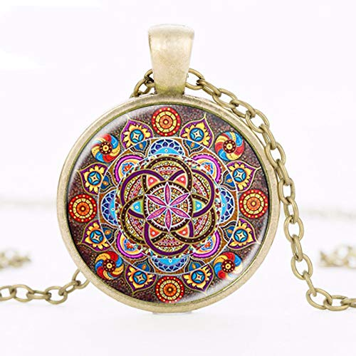Necklace for Men Steampunk Necklace Mandala Necklaces Chakra Pendant Om Jewelry For Women Glass Cabochon Pendants Zen Gifts Jewellery