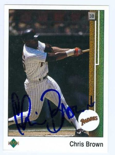 Autograph Warehouse 71376 Chris Brown Autographed Baseball Card San Diego Padres 1989 Upper Deck No. 193