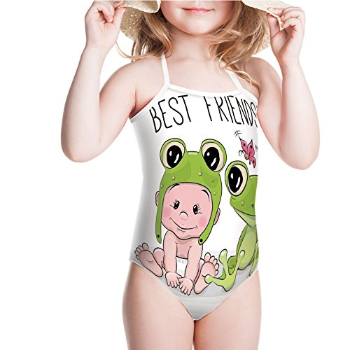 iPrint Girls' Swimsuit Froggy Hat and Frog Best Friends Love Theme for 7-8ages