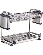 304 stainless steel Dish Rack,kitchen shelf,kitchen shelf Storage both hang wall and floor type (Color : 55cm)