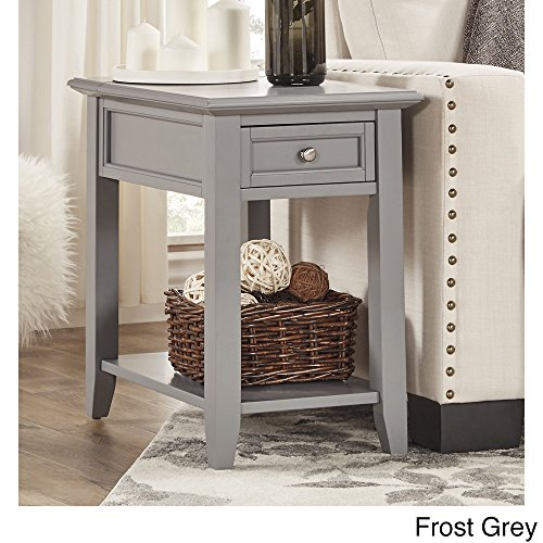 iNSPIRE Q Zayden 1-drawer Side Accent End Table with Charging Station Bold Bright Nickel Rectangle Wood Frost -