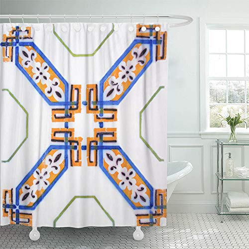 Emvency Shower Curtain Waterproof Polyester Fabric 66 x 72 inches Blue Ceramic Detail The Traditional Tiles from Facade Old House in Valencia Spain Set Hooks Decorative Bathroom by Emvency