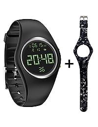 feifuns Pedometer Watch IP68 Swim Watch Waterproof Activity Tracker with Pedometer Step Counter/Distance/Calorie/Clock/Timer for Walking Running Kids Men Women
