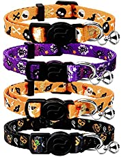 azuza Breakaway Cat Collar with Bell, Quick Release Safe Buckle Cat Collars, Pack of 4