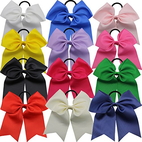 QtGirl 12 Pcs 7'' Baby Girls Large Cheer Hair Bows Mix Colors with Ponytail Holder Elastic Hair Ties for High School College Cheerleading by QtGirl