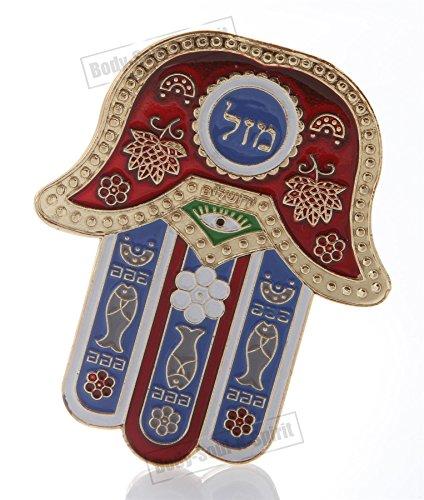 (Hamsa Red MAZAL Hebrew MAGNET Israel Kabbalah Judaica Evil Eye Lucky Charm)