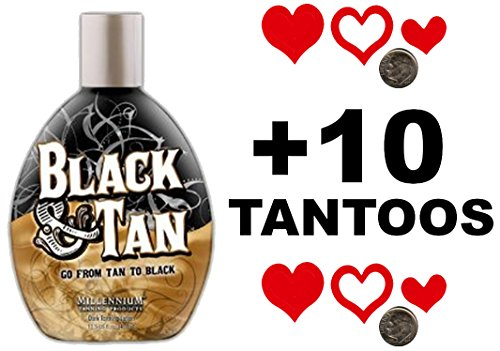 Millenium Tanning BLACK & TAN BRONZER 75x Indoor Tanning Bed Lotion 13.5OZ with FREE Tanning Tattoo Stickers