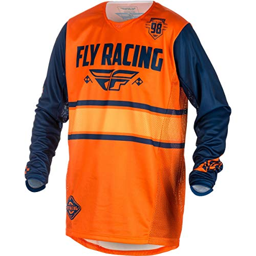 (Fly Racing 2018 Youth Kinetic Jersey - Era (LARGE) (ORANGE/NAVY))