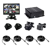 4 Channel AHD 720P H.264 HDD Vehicle Surveillance Camera System with 3 Mini HD Waterproof Wide-angle Cameras, 1 Mini 720P Wide-angle Car Camera with 6pcs 940nm IR LEDs Night Vision, 7