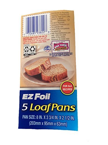 Excellence Pans - EZ Foil 5 Loaf Pans, 2 Pack (10 pans-8in x 3 3/4in x 2 1/2in)