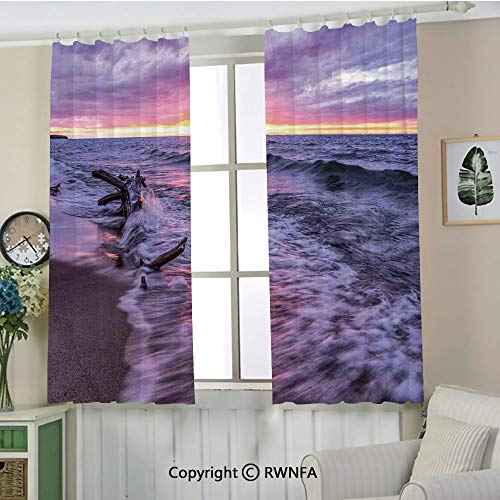 - RWNFA Custom Curtain.Driftwood Beach Landscape Wavy Sea and Cloudy Sky at Sunset Digital Image Multifunctional Curtains.Set of 2 Panels(72