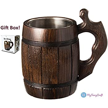 Amazon Com Handmade Beer Mug Oak Wood Stainless Steel