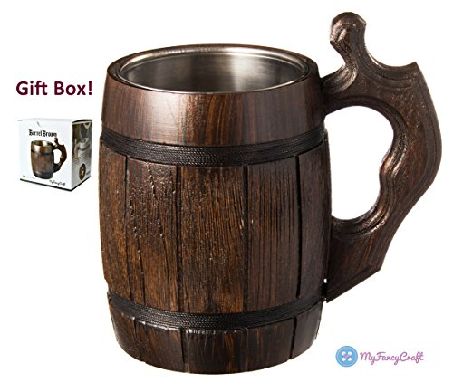 Barrel Stein - Handmade Beer Mug Oak Wood Stainless Steel Cup Natural Eco-Friendly 0.6 liters 20 ounces Barrel Brown