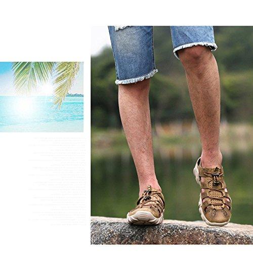 Brown Uomo Pelle Spiaggia 1195 Pelle Uomo Nuovi Sandali Da In Da Moda Estate Uomo Scarpe Da YXLONG In Da All'aperto ZqPUwSU4