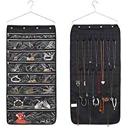 Adona Jewelry Hanging Thickening Oxford Organizer Holder Dual Sided Storage Bag 22 Pockets And 20 Loops with zipper - Black Colour With Silver Hanger (black)