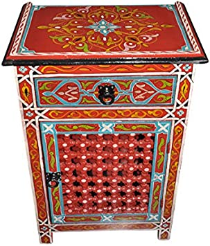 Moroccan Moucharabieh Nightstand Table Arabic Design Furniture (Red)