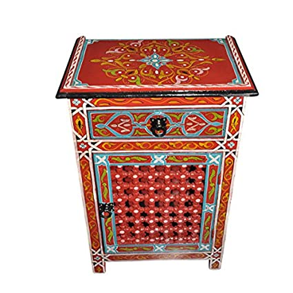 Moroccan Moucharabieh Nightstand Table Arabic Design Furniture Red