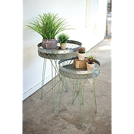 KALALOU CHE1164 SET 2 WIRE SIDE TABLES GALVANIZED AND ANTIQUE GREEN