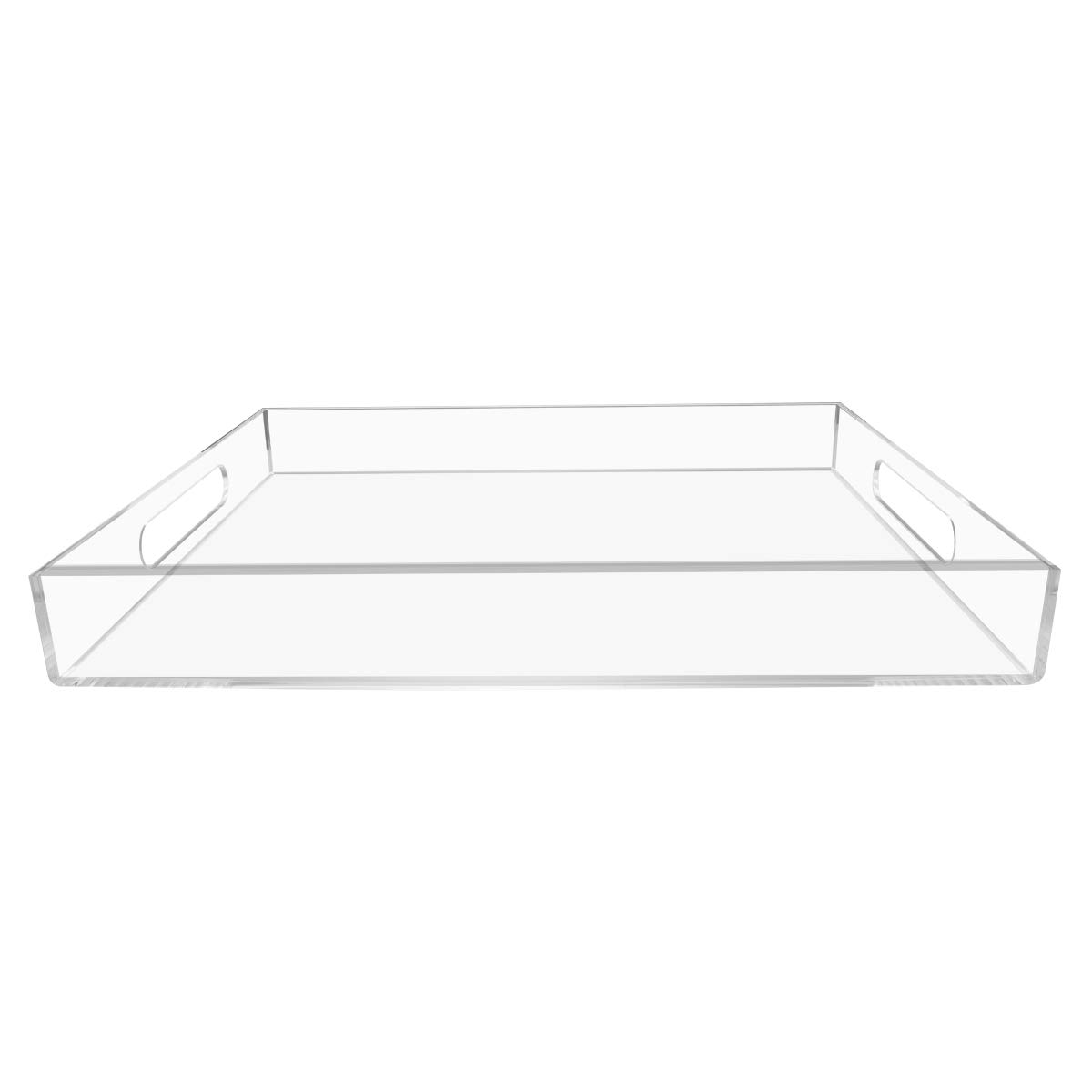 NIUBEE Clear Serving Tray 12x16 Inches -Spill Proof- Acrylic Decorative Tray Organiser for Ottoman Coffee Table Countertop with Handles by NIUBEE