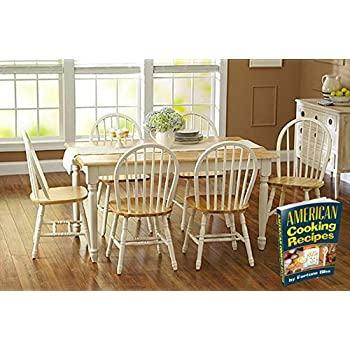 Amazon.com - White Dining Room Set with Bench. This Country Style ...