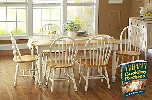 Fortune Bliss 7 Piece Wooden Dinette Table with 6 Chairs, White and Natural