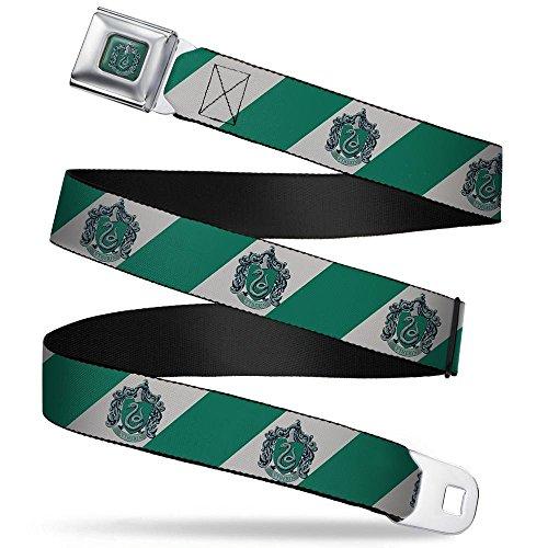 (Buckle-Down Seatbelt Belt - SLYTHERIN Crest Diagonal Stripe Gray/Green - 1.5