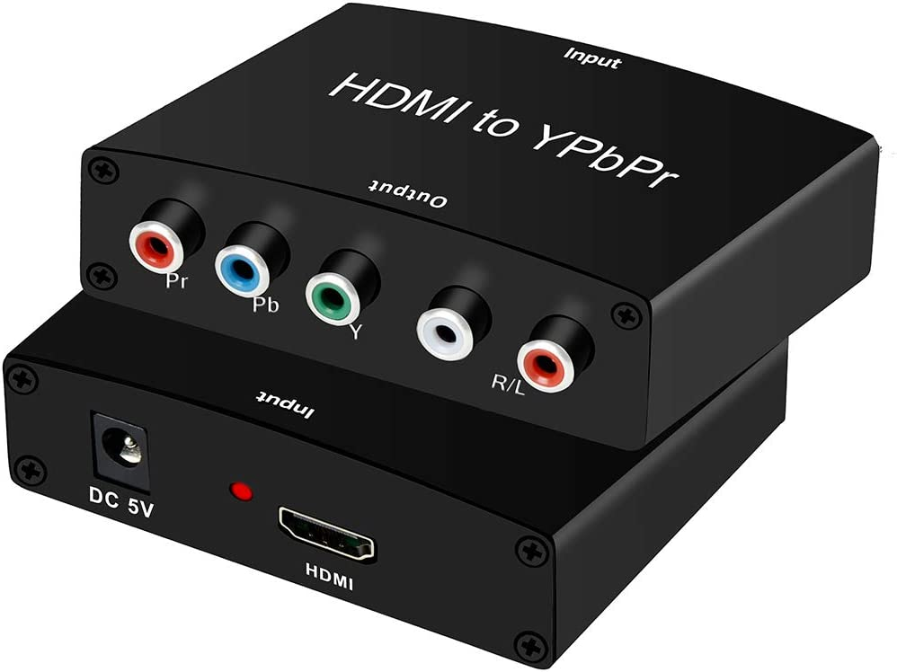 HDMI to Component Converter Adapter, avedio links HDMI to YPbPr 5RCA Converter, Supports 1080P Video Audio Converter Adapter for DVD PSP Xbox 360 PS2 to HDTV Monitor(Black)