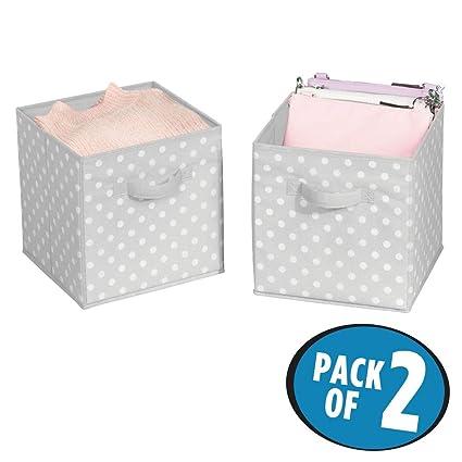 mDesign Juego de 2 cajas organizadoras pequeñas para ordenar armarios – Organizadores de armarios a lunares
