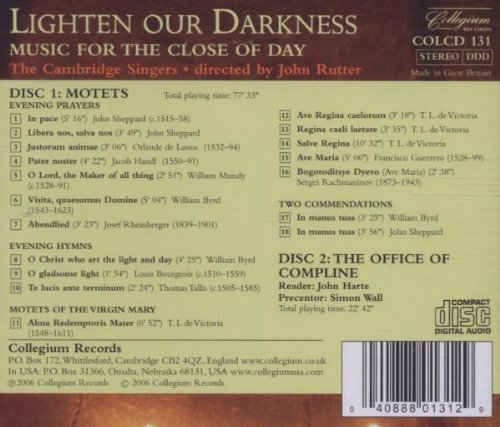 Lighten our Darkness: Music for the Close of Day - The Cambridge Singers
