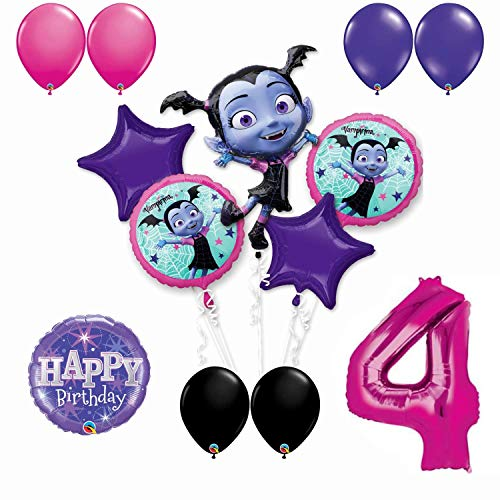 (Vampirina 4th Birthday Party Balloon Bouquet Bundle for Age 4, Includes 13 Balloons)