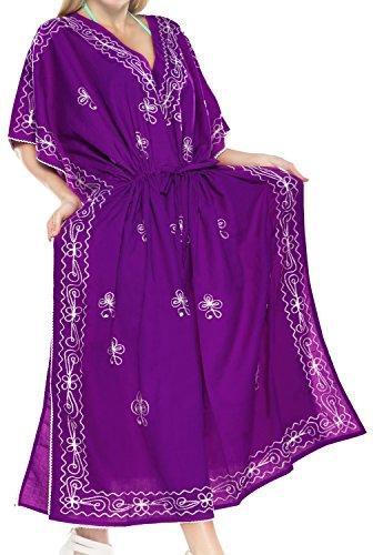 (LA LEELA PV Solid Long Caftan Boho Dress Ladies Violet_916 OSFM 14-18W [L-2X])